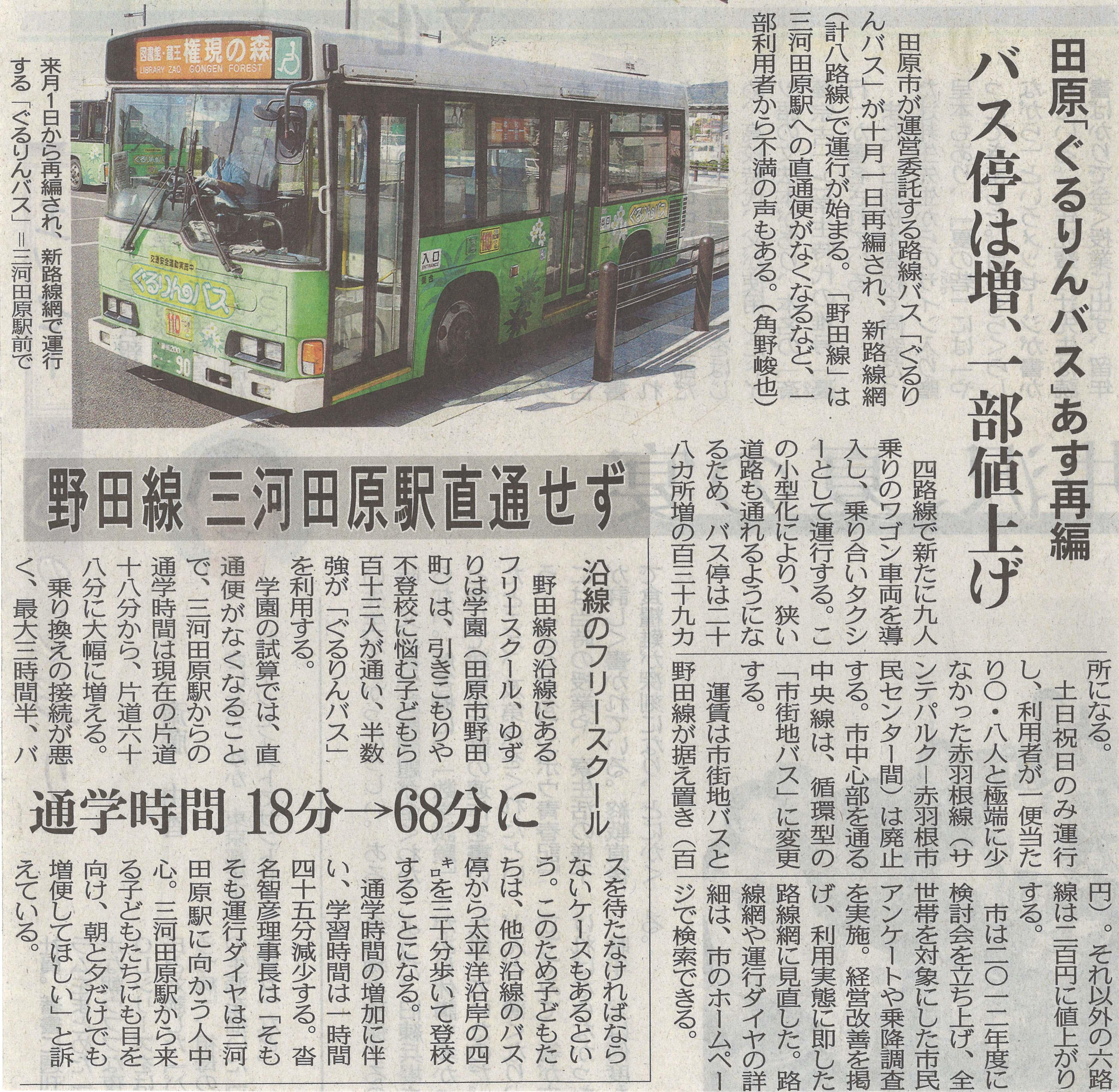 018_田原「ぐるりんバス」あす再編 バス停は増、一部値上げ