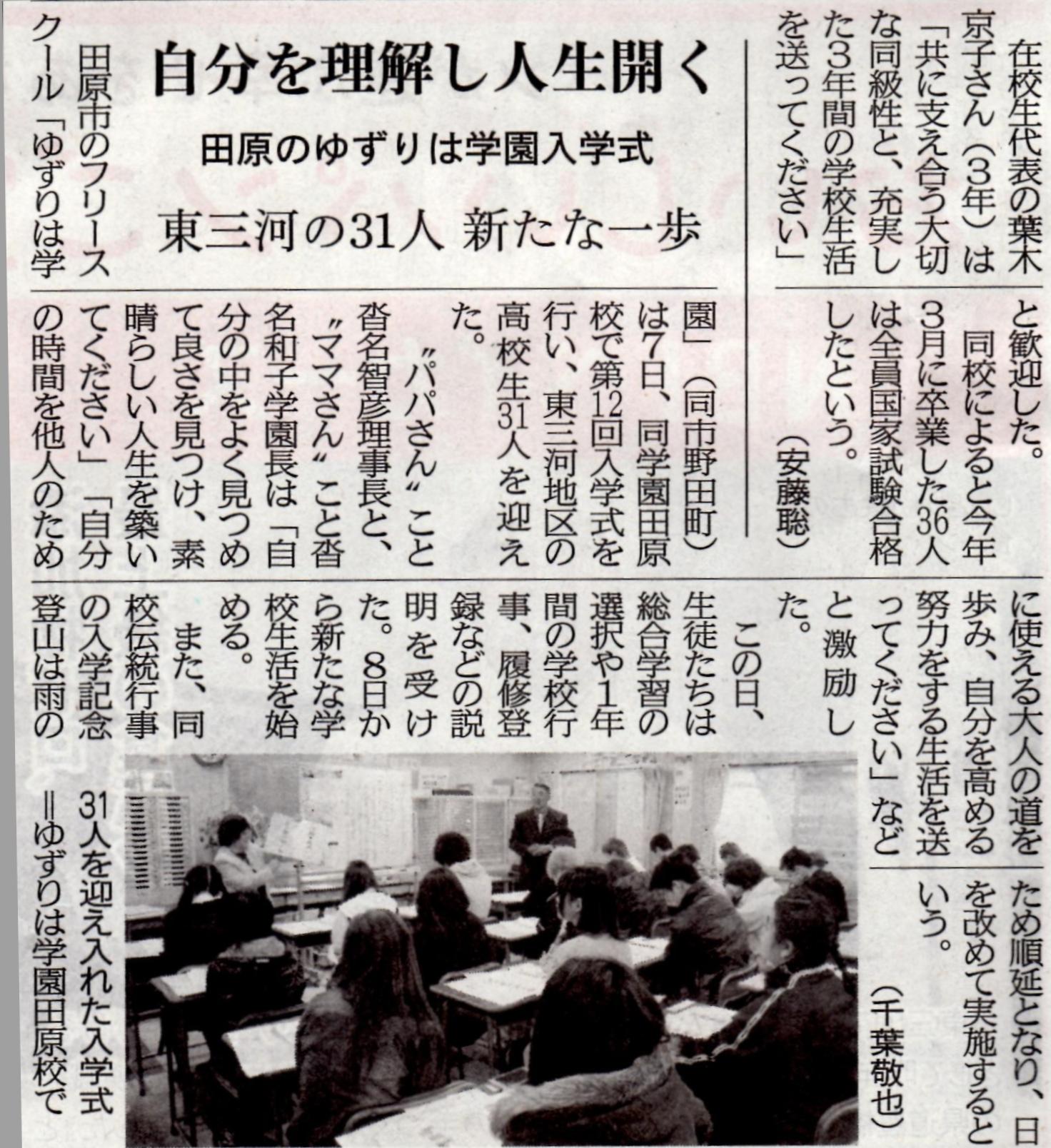 031_東愛知新聞掲載「自分を理解し人生開く」