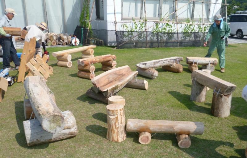 流木ベンチ作り2